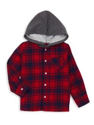 Little Boy's Hooded Plaid Button-Front Shirt
