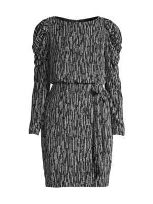 Metallic Knit Puff-Sleeve Dress