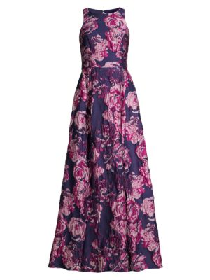 Sleeveless Floral Brocade Gown