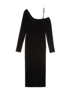 One-Shoulder Knit Midi Dress
