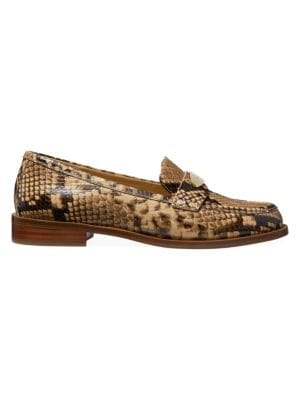 Finley Snakeskin-Print Leather Loafers