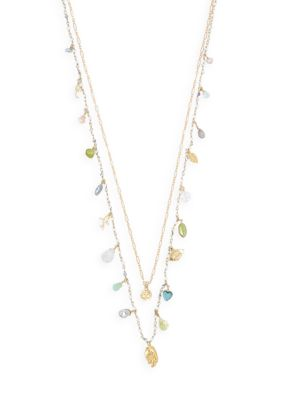 18K Goldplated, 3-10 MM Mixed Pearl & Mixed-Stone Necklace