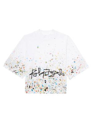 Paint-Splatter Boxy Cotton T-Shirt
