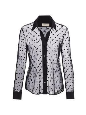 Hallie Sheer Polka Dot Shirt