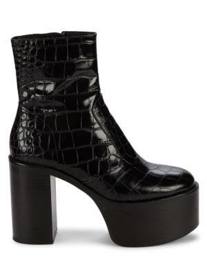 High Raid Embossed Platform Leather Boots
