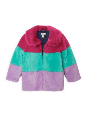 Little Girl's & Girl's Faux-Fur Striped Coat