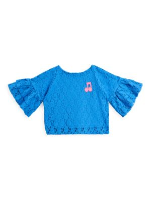 Little Girl's & Girl's Lace Frill Sleeve Top