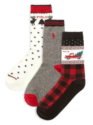 Little Boy's & Boy's 3-Pack Holiday Truck Crew Socks