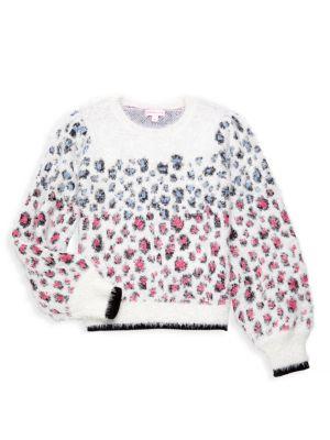 Little Girl's & Girl's Leopard-Print Sweater