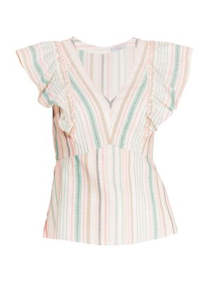 Halsey Striped Ruffle Top