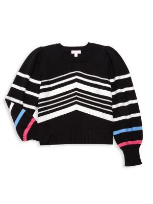 Little Girl's & Girl's Puff-Sleeve Striped Sweater