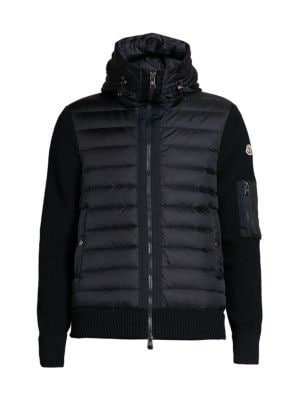 Wool-Blend Knit-Sleeve Quilted Jacket