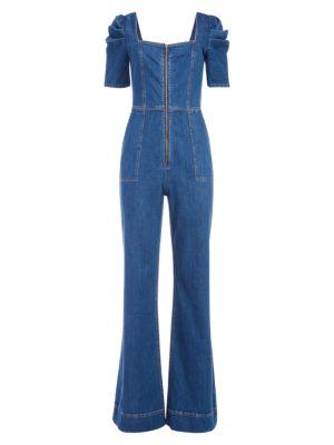 Kennedy Puff-Sleeve Denim Jumpsuit