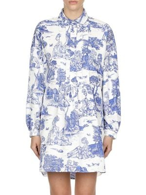 Toile Pintuck Pleated Shirtdress