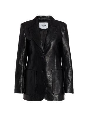 Faux Leather Blazer Jacket