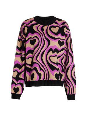 Multi-Print Crewneck Sweater