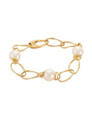Marrakech Onde 18K Yellow Gold & 10MM Pearl Coil-Link Bracelet