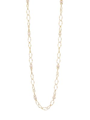 Marrakech Onde 18K Yellow Gold & 10MM Pearl Coil-Link Long Necklace
