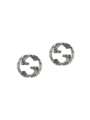 Stud Earrings With Interlocking G Motif In Aged Sterling Silver
