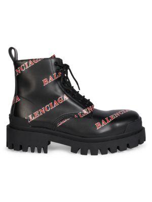 Strike Logo Leather Combat Boots