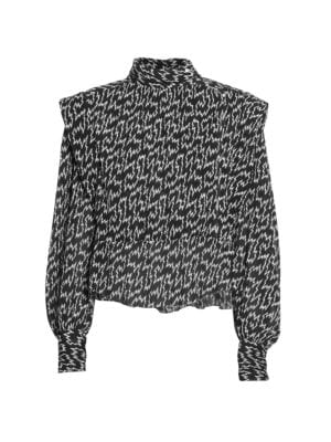 Anais Printed Puff-Sleeve Blouse