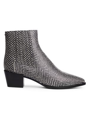 Rover Snakeskin-Embossed Leather Ankle Boots
