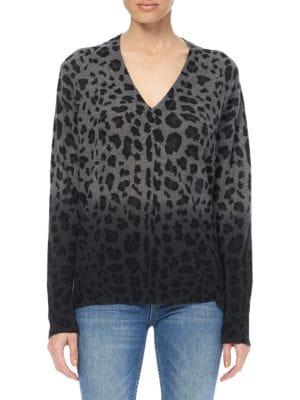 Lou Dip-Dye Leopard Print Cashmere Sweater