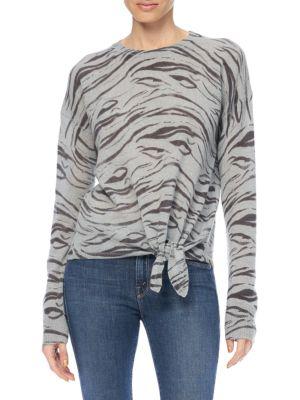 Kourtney Zebra Print Tie-Front Cashmere Sweater
