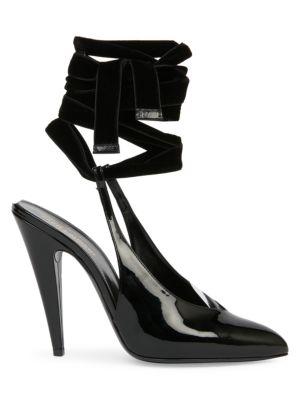 Venus Ankle-Wrap Patent Leather Pumps