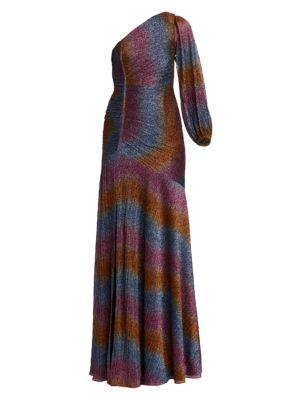 One-Shoulder Rainbow Shine Gown