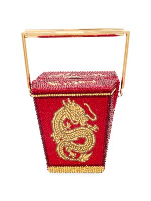 Golden Dragon Crystal Embellished Take Out Box Top Handle Clutch