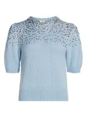 Lisa Embellished Wool-Blend Short Puff-Sleeve Sweater
