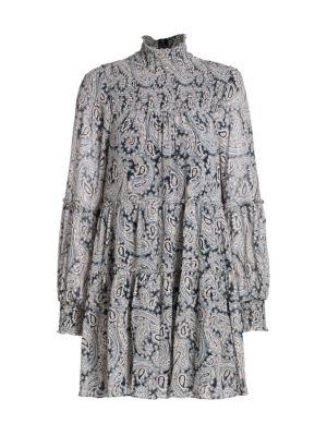 Rika Paisley Long-Sleeve Highneck Shift Dress