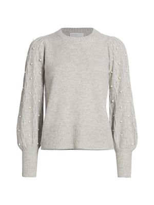 Imitation Pearl Cashmere Combo Sweater