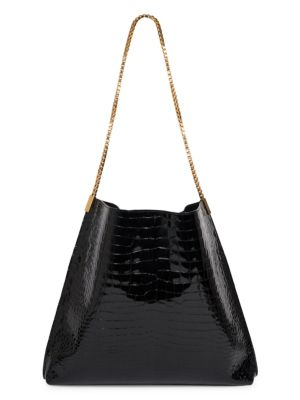 Medium Suzanne Croc-Embossed Leather Hobo Bag