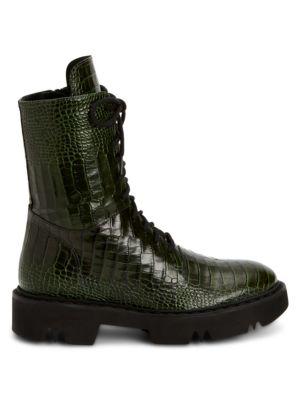 Hana Croc-Embossed Leather Combat Boots