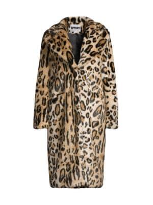 Karlie Leopard-Print Longline Faux-Fur Coat