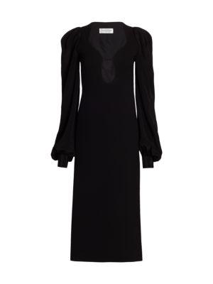 Long Sleeve Keyhole Midi Dress