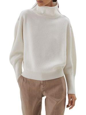 Monili Tab Ribbed Cashmere Turtleneck Sweater