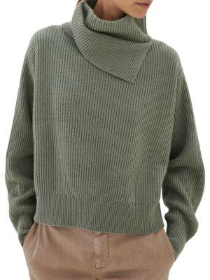 Cashmere Folded Turtleneck Knit Sweater