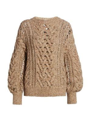 Open Weave Cashmere & Wool-Blend Knit Sweater