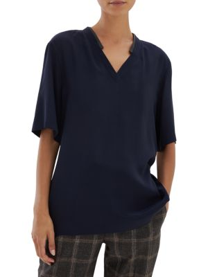 Monili-Collar Silk V-Neck Blouse