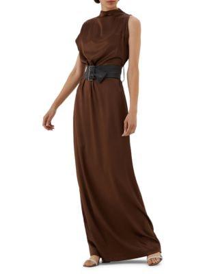 Asymmetric Belted Stretch-Silk Gown