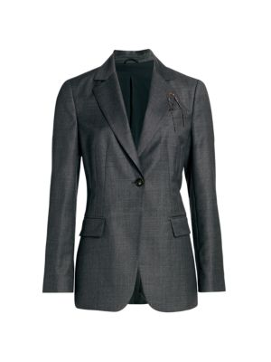 Grisaille Virgin Wool Monili-Trim Single Breasted Jacket