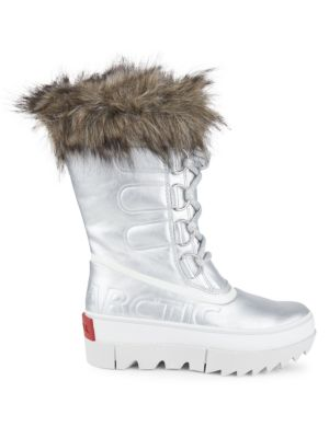 Joan of Arctic Next Faux Fur-Trimmed Metallic Leather Boots
