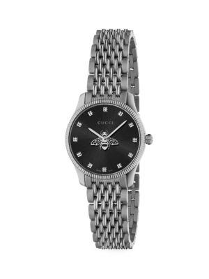 G-Timeless Slim Black Dial Stainless Steel Bracelet Watch