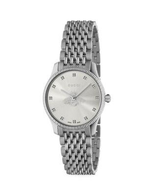 G-Timeless Slim Silver Dial Stainless Steel Bracelet Watch