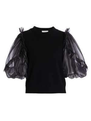 Nuria Organza-Sleeve Wool, Silk & Cashmere Sweater