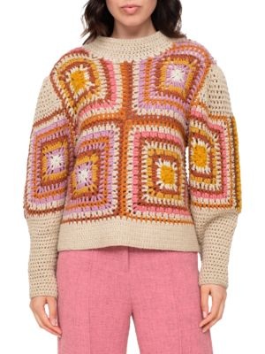 Farrah Wool Crochet Cropped Knit Sweater