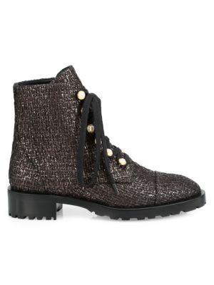 Reysen Metallic Tweed Leather Combat Boots